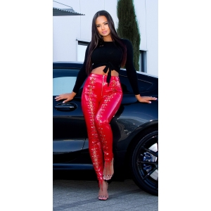 Latex Pant With Lacing - Red