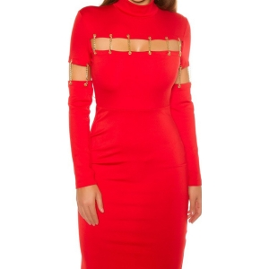 SEXY SHIFT DRESS WITH DECO CHAINS red