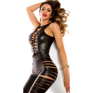 Sexy Wetlook jumpsuit with slits