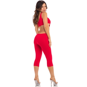 ONE SHOULDER CROPPED CATSUIT RED