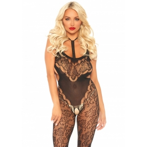 Lace bodystocking with cut out - Black One Size