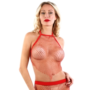 9589 Net Top with rhinestones - Red - OS