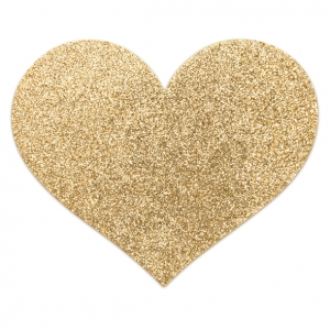 Flash Heart Nipple Stickers - Gold