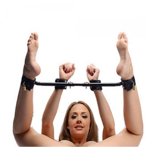 Silver Bondage Spreader bar with rings 86cm - 2002792