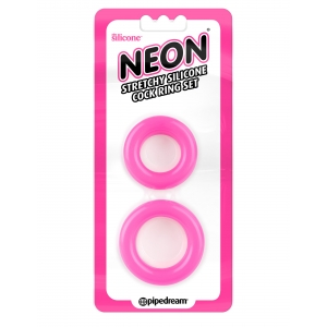 Neon  Stretchy Silicone Cock Ring - Hot Pink