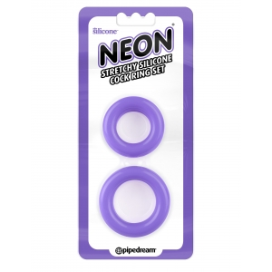 Neon  Stretchy Silicone Cock Ring - Purple