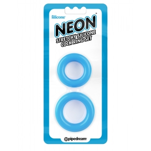 Neon  Stretchy Silicone Cock Ring - Blue