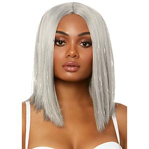 Long bob wig with tinsel - Silver