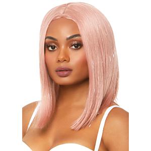 Long bob wig with tinsel - Pink