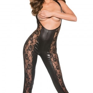 Kitten Lace And Wet Look Catsuit - Black One Size