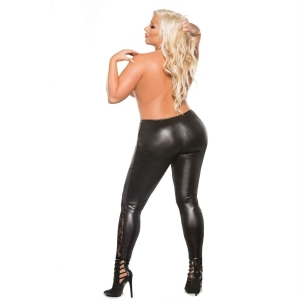 Kitten Plus Lace And Wet Look Leggings - Black One Size