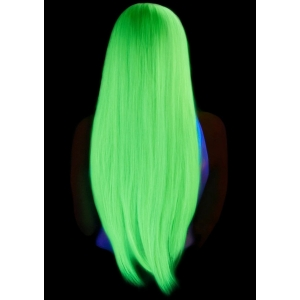 Long straight center part wig - Neon Green