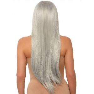 Long straight center part wig - Silver