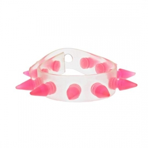 Alter Ego UV Clear Bracelet / Wristband With Pink Spikes