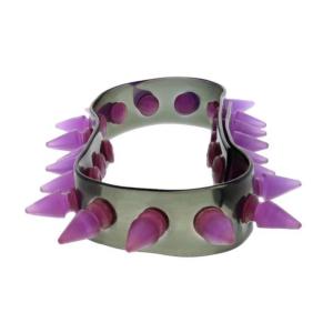 Alter Ego UV Black Necklace / Chocker With Purple Spikes