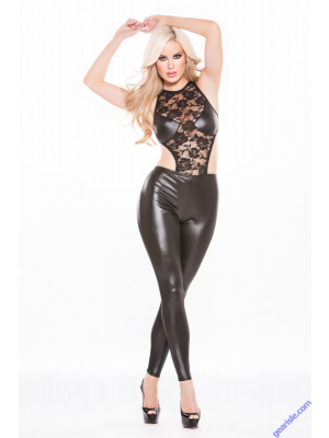 Wetlook bodysuit with black Allure lace