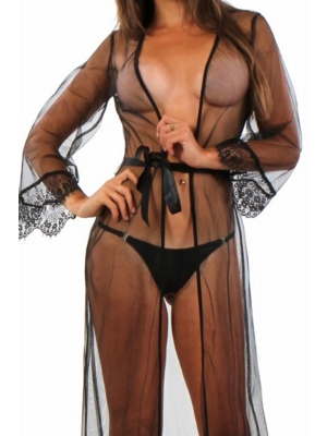 Long Negligee in tulle and lace finish Black L/XL