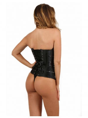 Satin corset with swing hook clasps closing front