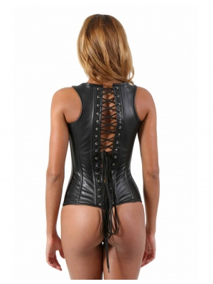 Leatherette corset with straps