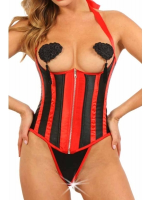 Satin breastless corset with Zip - Red
