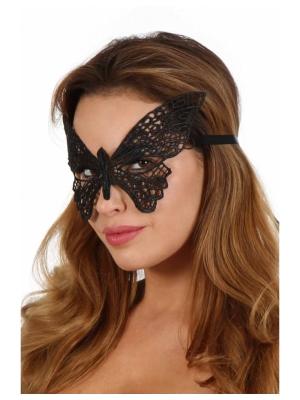 Crochet-work butterfly mask. Lacing satin ribbon.