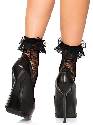 Cross net lace ruffle anklets