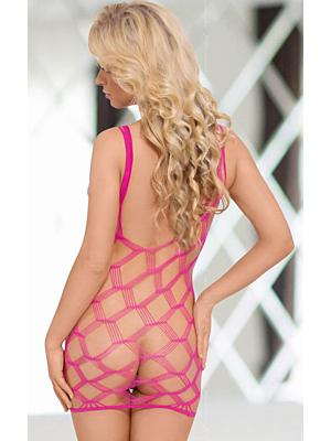 Γυναικείο ολόσομο δίχτυ Kitty - Neon Pink S/L