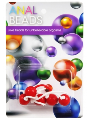ABS Plastic Anal Beads With String In A Pot Red OS