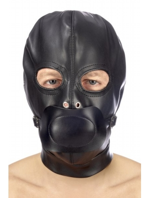 Fetish hood with strap and mouth cover