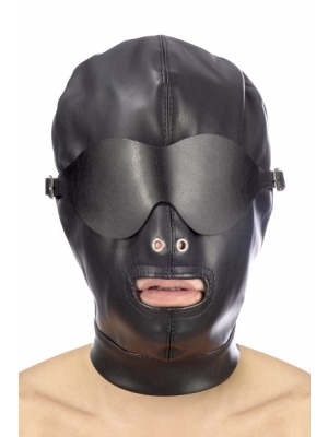 Fetish hood with strap and eye cover