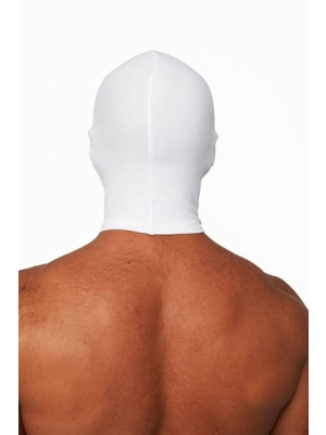 Mister B Lycra Hood Eyes and Mouth Open White
