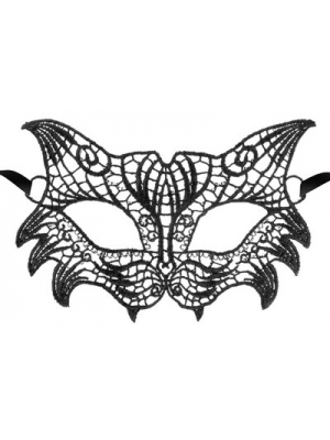 Black embroidered lace mask