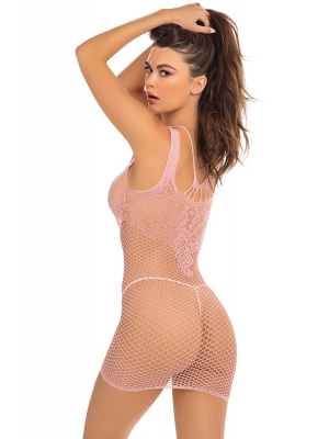 ABSOLUTIST LACE AND NET DRESS PINK, OS