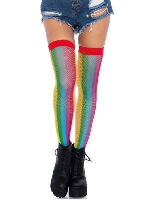 Rainbow fishnet thigh highs