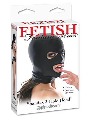 Fetish Fantasy Lycra 3 Hole Hood Black OS