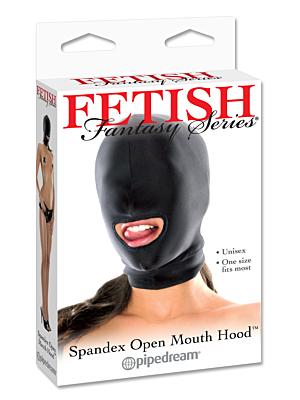 Fetish Fantasy Spandex Open Mouth Hood Black