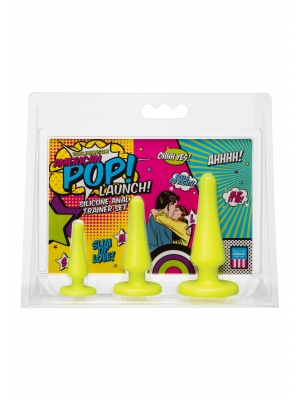 American POP Launch Silicone Anal Trainer Set by Doc Johnson - Yellow
