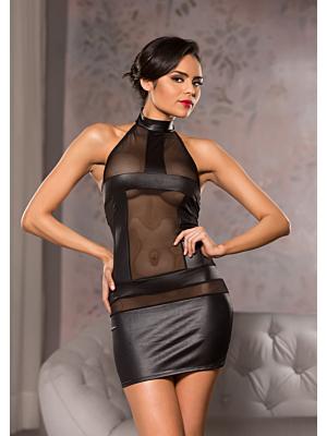 Halter Neck Mesh Dress - Black