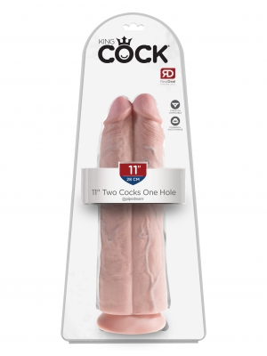 King Cock 11 Inch Two Cocks One Hole - Skin