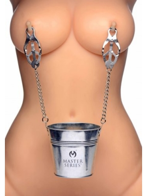 Slave Bucket with Labia/Nipple Clamps