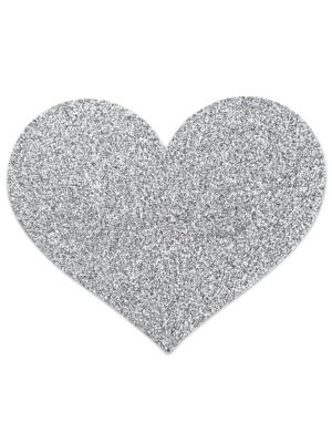 Flash Heart Nipple Stickers - Silver
