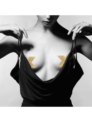 Flash Cross Nipple Stickers - Gold