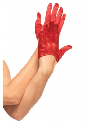 Mini Cropped Satin Gloves, red, O/S