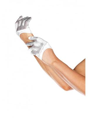 Mini Cropped Satin Gloves, white, O/S