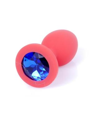Plug-Jewelery Red Silicon PLUG Small- Blue Diamond