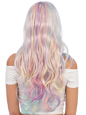 Pastel rainbow long wavy wig