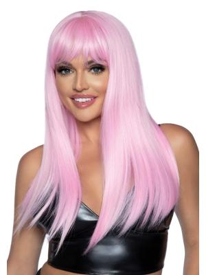 Long straight bang wig - Pink