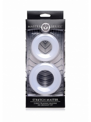 Stretch Master 2 pc Silicone Anal Grommet Set - White