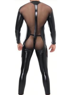 Men Transparent Faux Leather Spliced With Mesh Jampsuit