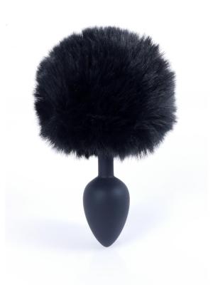 Butt Plug Silicon Bunny Tail - Black Pom Pom